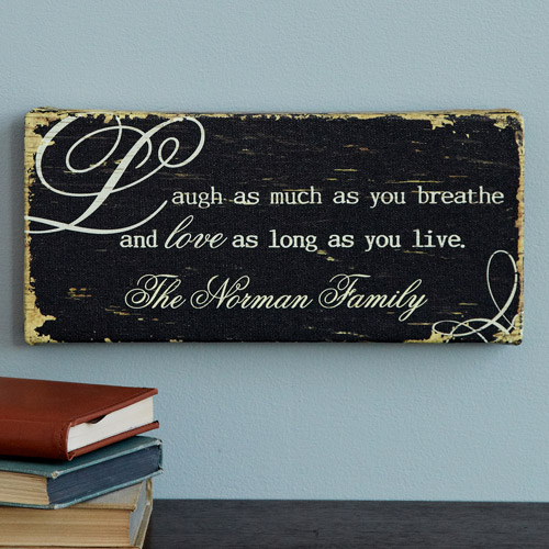 "Personalized ""Laugh and Love"" Canvas Wall Decor"