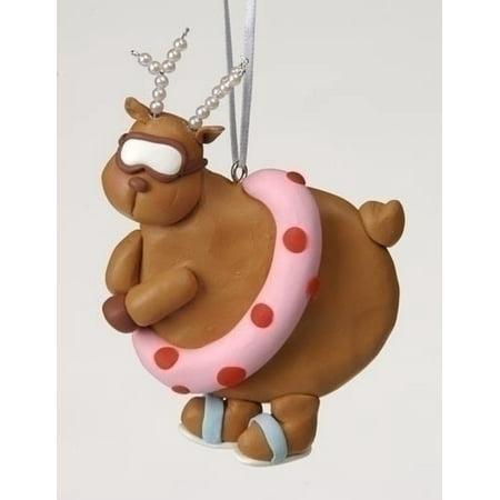 Swimming Chubby Diva Reindeer with Pearl Antlers Christmas Ornament - Kids Reindeer Antlers
