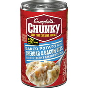 (4 pack) Campbell's Chunky Soup, Baked Potato with Cheddar & Bacon Bits Soup, 18.8 Ounce Can