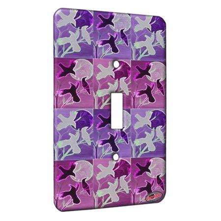 KuzmarK™ Single Gang Toggle Switch Wall Plate - Ravens at Twilight Wildlife Electric Art by Denise -