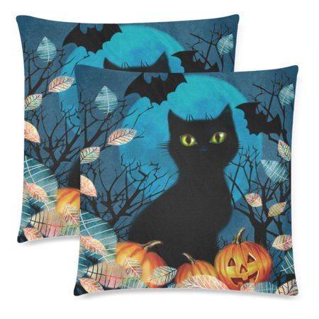 YKCG Autumn Tree Black Cat Pumpkin on a Full Moon Pillowcase Pillow Case Cover 18x18 Twin Sides, Halloween Dark Fall Leaves Polyester Zippered Cushion Case Decorative, Set of 2