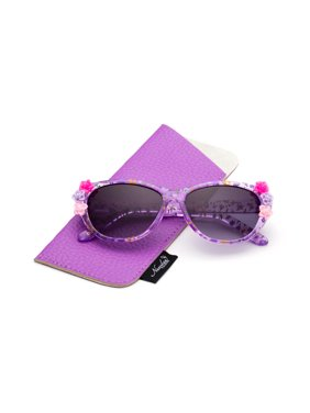 Newbee Fashion- Kids Girls Toddlers Fashion Sunglasses Cateye Cute Sunglasses with Flowers UV Protection w/Pouch (0-5 YRS)