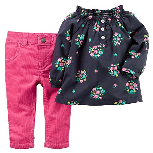 Carter's Baby Girls' 2-piece Floral Top & Pink Corduroy Pants Set (Newborn)
