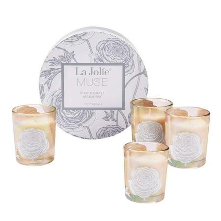 - LA JOLIE MUSE Scented Candle Gift Set-4 Pack 8.8 Oz Jasmine Mint/Aquamarine/Orange Cinnamon/Cedarwood