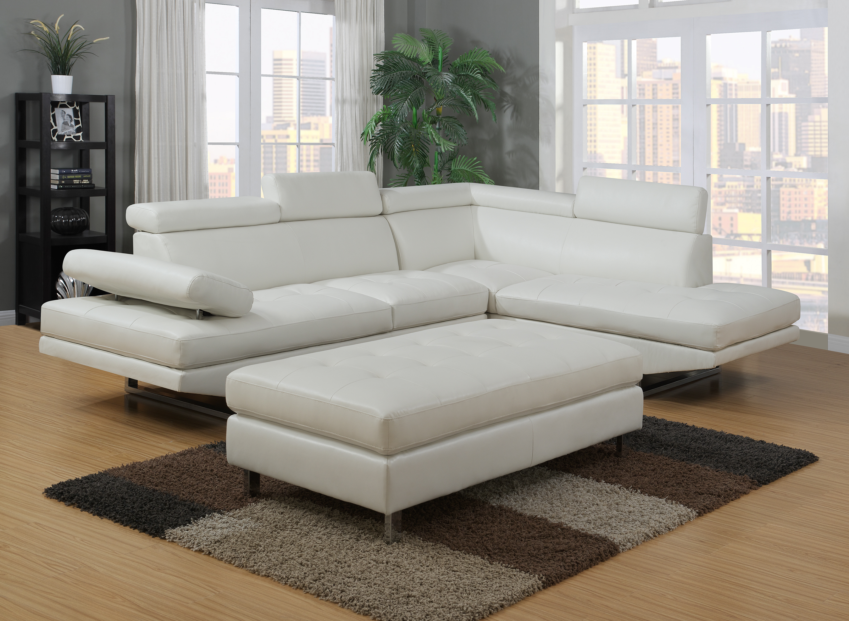 Logan Collection Sectional Sofa White
