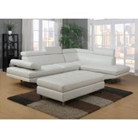 Logan Collection Sectional Sofa, White Color