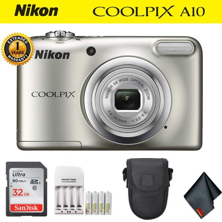 Nikon COOLPIX A10 Digital Camera Silver (26518) (Intl Model) Deluxe Kit (Nikon Kit)