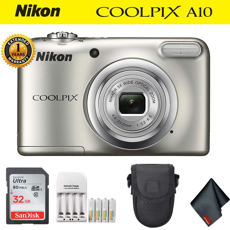 Nikon COOLPIX A10 Digital Camera Silver (26518) (Intl Model) Deluxe Kit