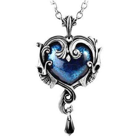 - Women's Fashion Necklace Gothic Skull Face Blue Heart of Enduring Romance Teardrop Swarovski Crystal