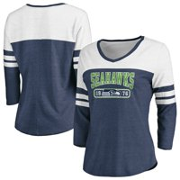 Women's Fanatics Branded College Navy/White Seattle Seahawks Vintage Arch 3/4-Sleeve T-Shirt