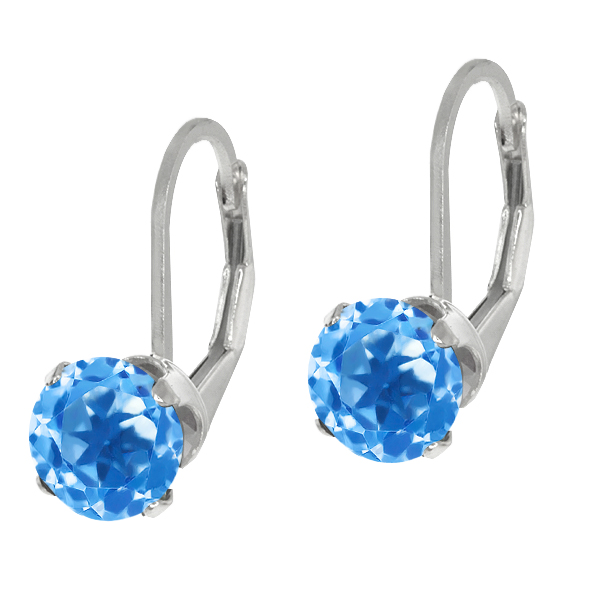 3.10 Ct Round Swiss Blue Topaz Sterling Silver 4-prong Dangle Earrings 7mm