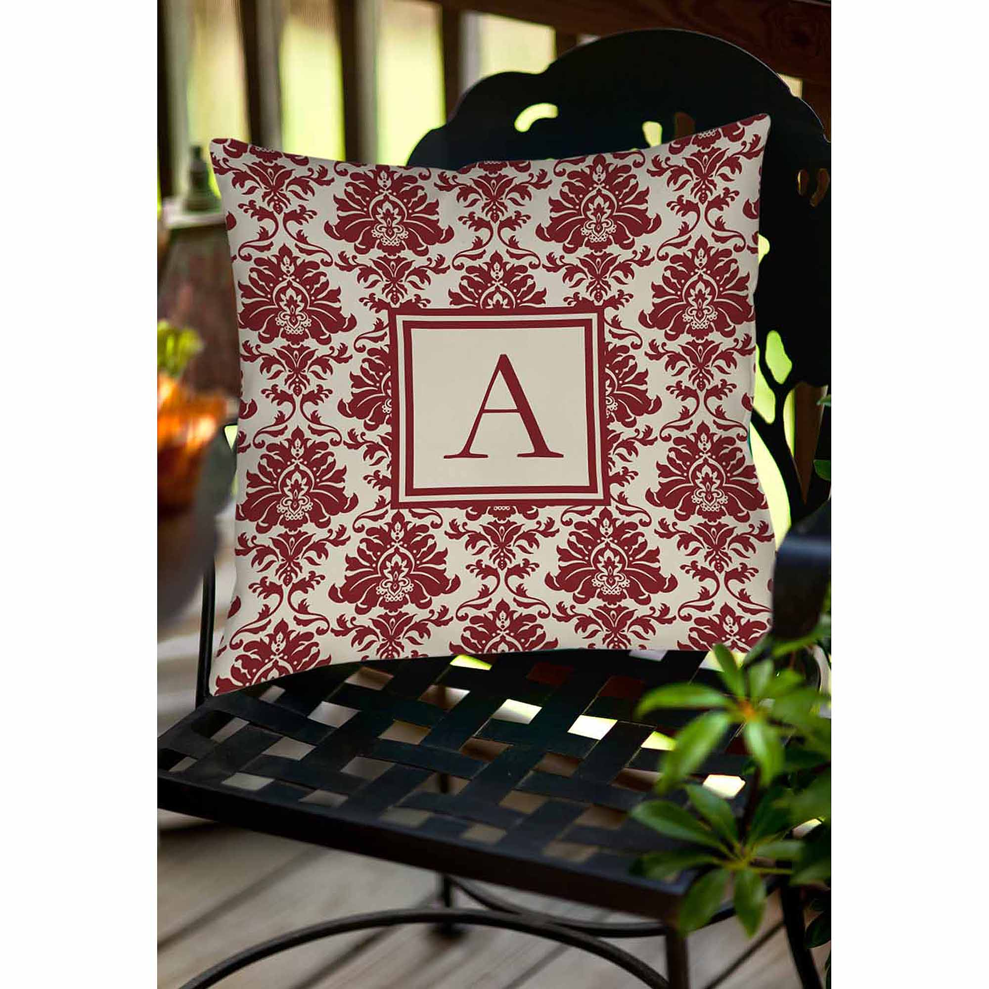Thumbprintz Damask Monogram Decorative Pillow, Crimson