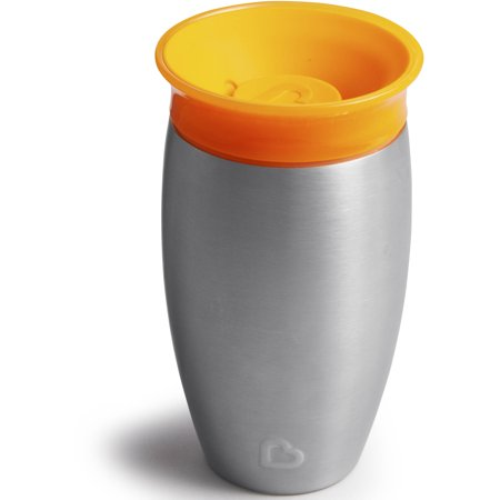 Munchkin Miracle 360 Spoutless Stainless Steel Sippy Cup, 10oz, Orange