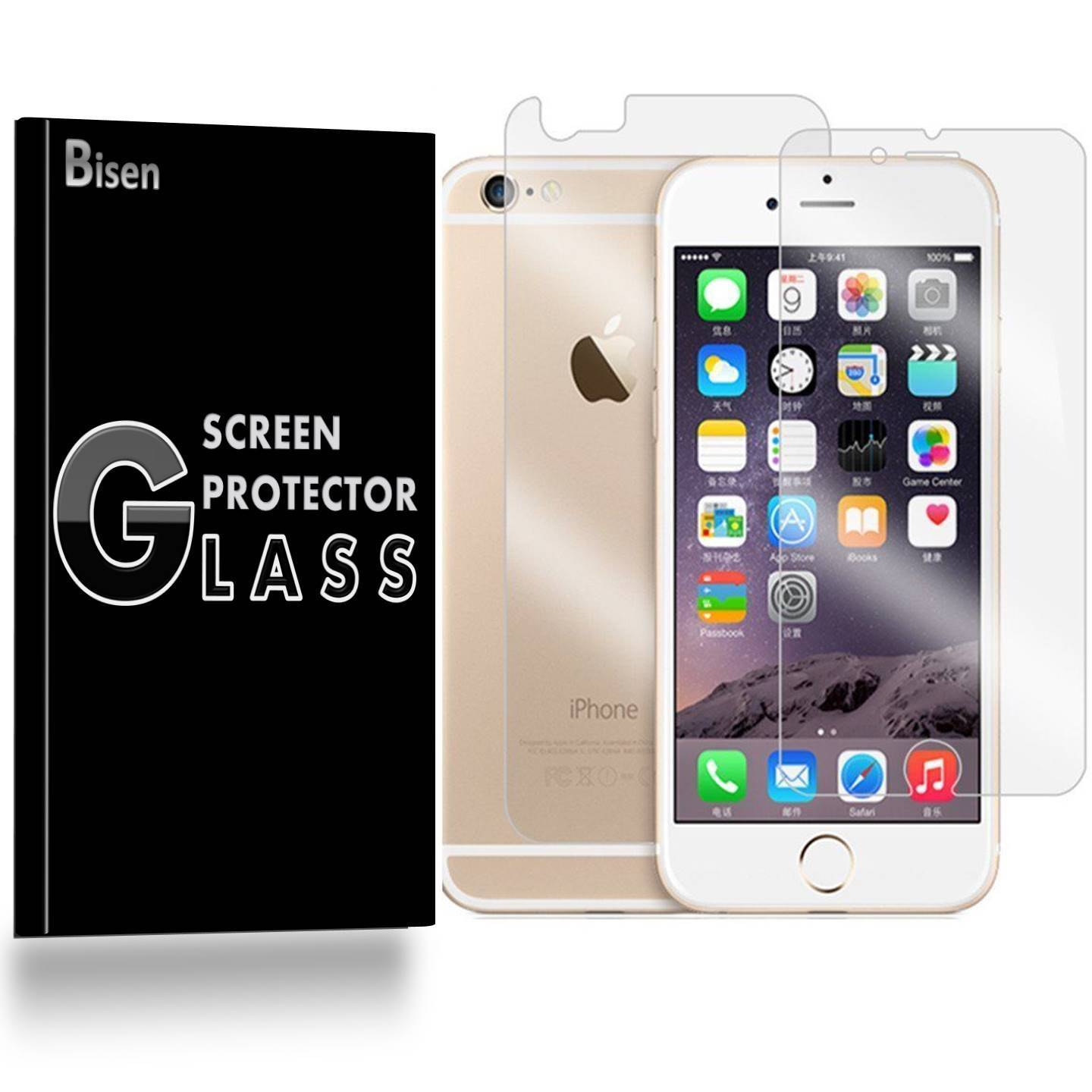 iPhone 6S / iPhone 6 [BISEN] Tempered Glass FULL BODY [Front + Rear] Screen Protector, Anti-Scratch, Anti-Shock, Shatterproof, Bubble Free