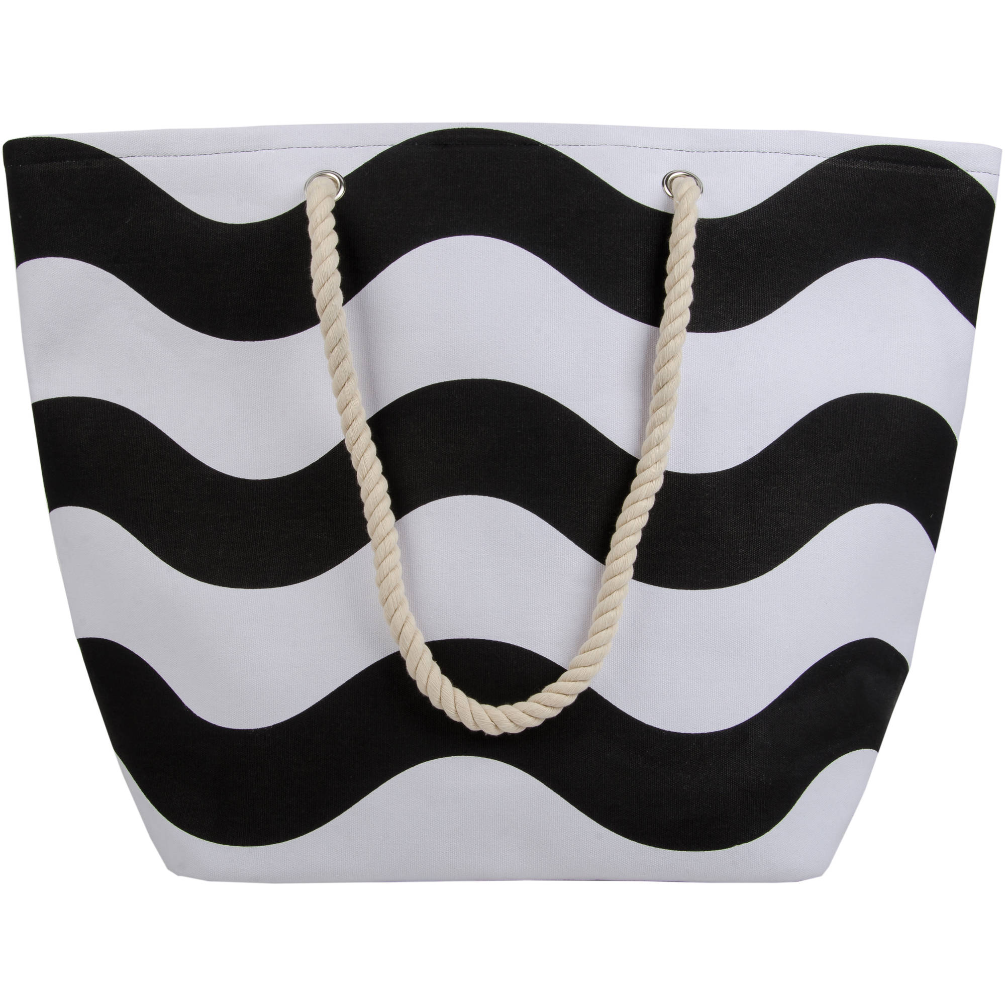 Canvas Rope Tote Black Wavy Stripe - Walmart.com