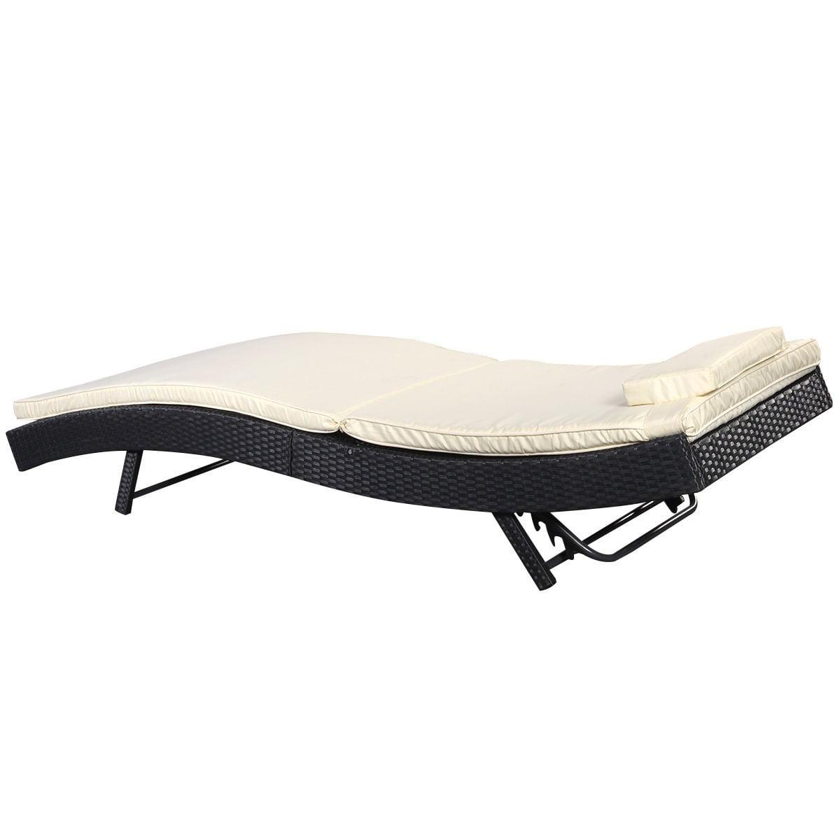 Outdoor pool chaise lounge chair pe wicker patio furniture adjustable - Outdoor Pool Chaise Lounge Chair Pe Wicker Patio Furniture Adjustable New Walmart Com