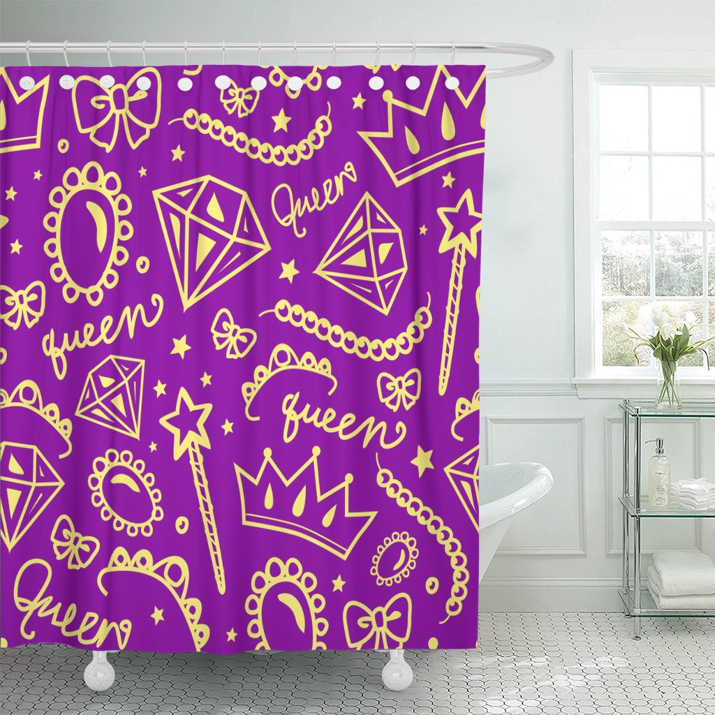 purple and white curtains pknmt crown girly pattern of jewelry purple and yellow 4450