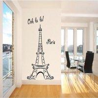 """Eiffel Tower Ooh La La Paris Vinyl Wall Decal Sticker (72""""H x 39""""W, Black)"""