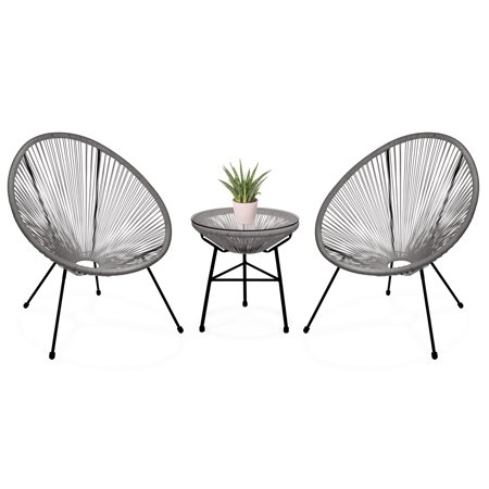 Best Choice Products 3-Piece Patio Woven Rope Acapulco Conversation Bistro Set Outdoor Furniture for Backyard, Porch w/ Glass Top Table, 2 Chairs -