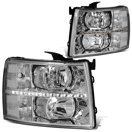 For 2007 to 2014 Chevy Silverado 1500 2500 3500 LED DRL Strip Headlight Chrome Housing Clear Corner Headlamp 08 09 10 11 12 13 Left+Right