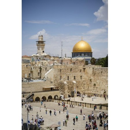 View over the Western Wall (Wailing Wall) and the Dome of the Rock Mosque Print Wall Art By Yadid Levy