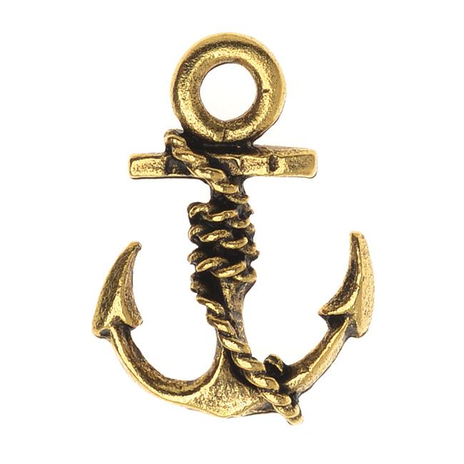 Nunn Design Charm, 12.5x18mm Nautical Anchor, 1 Piece, Antiqued Gold
