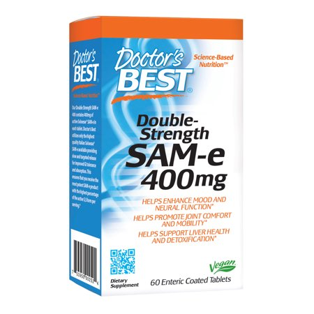 Doctor's Best SAM-e 400 mg, Vegan, Gluten Free, Soy Free, Mood and Joint Support, 60 Enteric Coated Tablets (Coated Carbon)