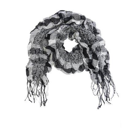 (Womens Plaid Scarf Black And White Fashion Scarf Long Fringe Printed Accessory)