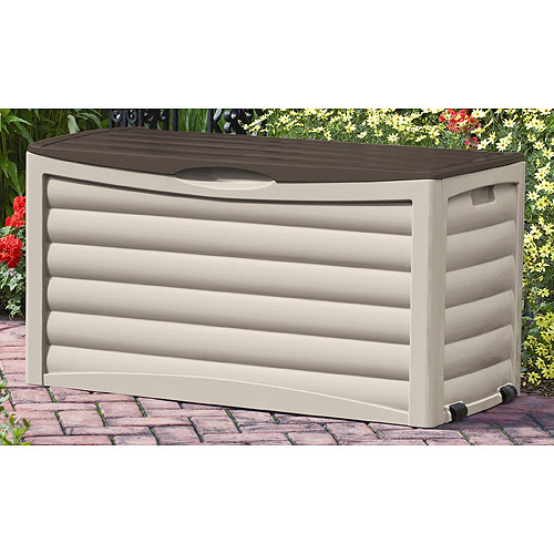 Suncast 83 Gallon Light Taupe and Mocha Resin Deck Box DB8300 by Suncast