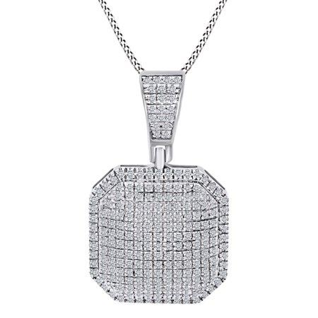1/2 Carat Round Shape White Natural Diamond Puff Octagon Shape 10k Solid White Gold Pendant Necklace (0.5 Cttw)