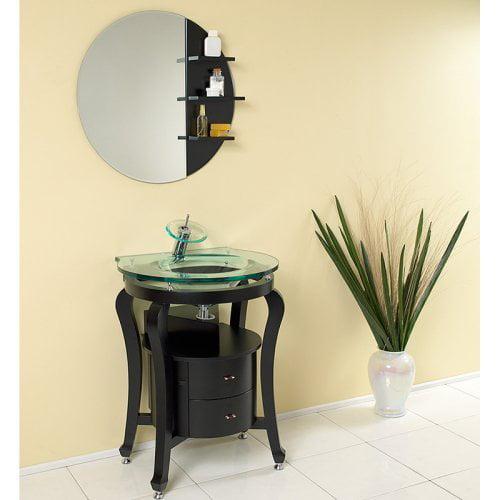 Fresca Simpatico Espresso 25.5-in. Modern Single Bathroom Vanity with Mirror & Shelves FVN3330ES