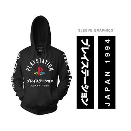 Playstation Adult Unisex Logo with Sleeve Hits Pull Over Fleece Hoodie XS Black