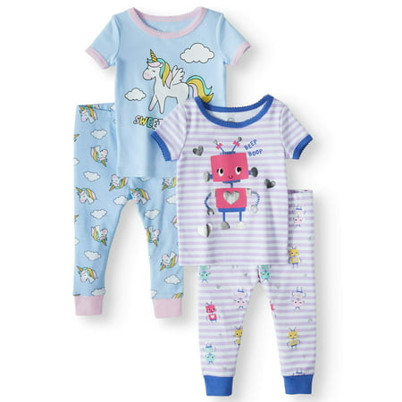Wonder Nation Cotton tight fit pajamas, 4pc set (baby girls)