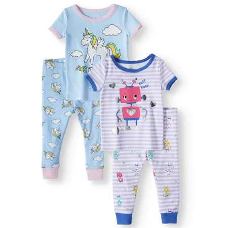 Wonder Nation Cotton tight fit pajamas, 4pc set (baby girls) ()