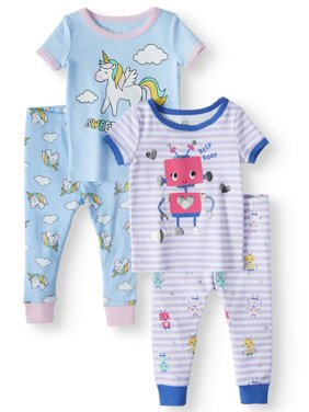 Product Image Cotton Tight Fit Pajamas, 4pc Set (Baby Girls)