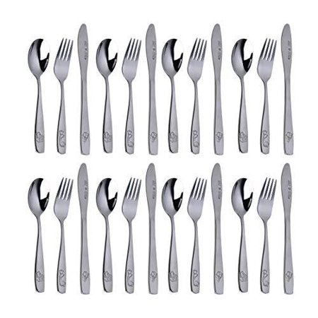 Stainless Steel Kids Silverware Set – 24-Piece Toddler Utensils with 8 Forks, 8 Spoons and 8 Kid-Friendly Knives - Flatware Metal Cutlery Set for Preschooler Baby Child Toddler Self