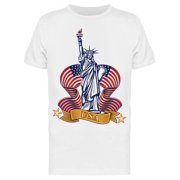 Liberty, Statue With Waving Flag Tee Men's -Image by Shutterstock