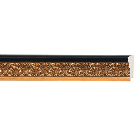 "Picture Frame Moulding (Wood) - Ornate Gold Finish - 1.75"" width - 3/8"" rabbet depth"