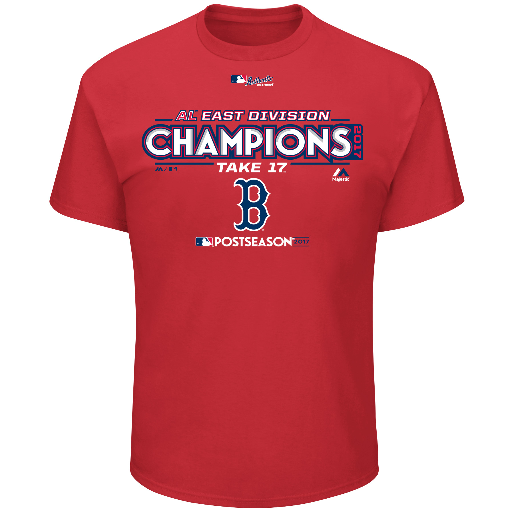 Boston Red Sox Majestic 2017 AL East Division Champions Locker Room T-Shirt - Red