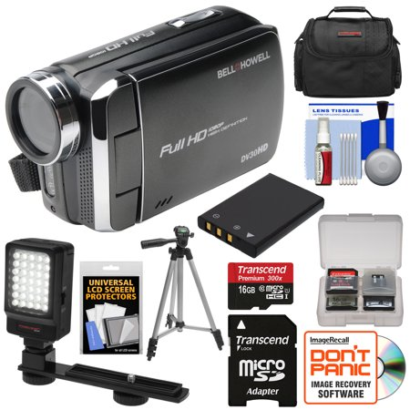 Bell   Howell Dv30hd 1080P Hd Video Camera Camcorder  Black  With 16Gb Card   Battery   Case   Tripod   Led Video Light   Kit