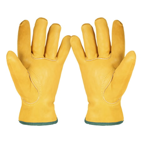 Leather Working Gloves Men's Work Cowhide Gloves Gardening Digging Planting Plant Flower Pruning Protective Glove Driver Security Non-Slip Protection Wear Safety Workers Welding Moto Gloves for Men