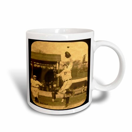 3dRose Vintage Detroit Tigers Making the Catch Black 2, Ceramic Mug, (Tigers Ceramic Chip)