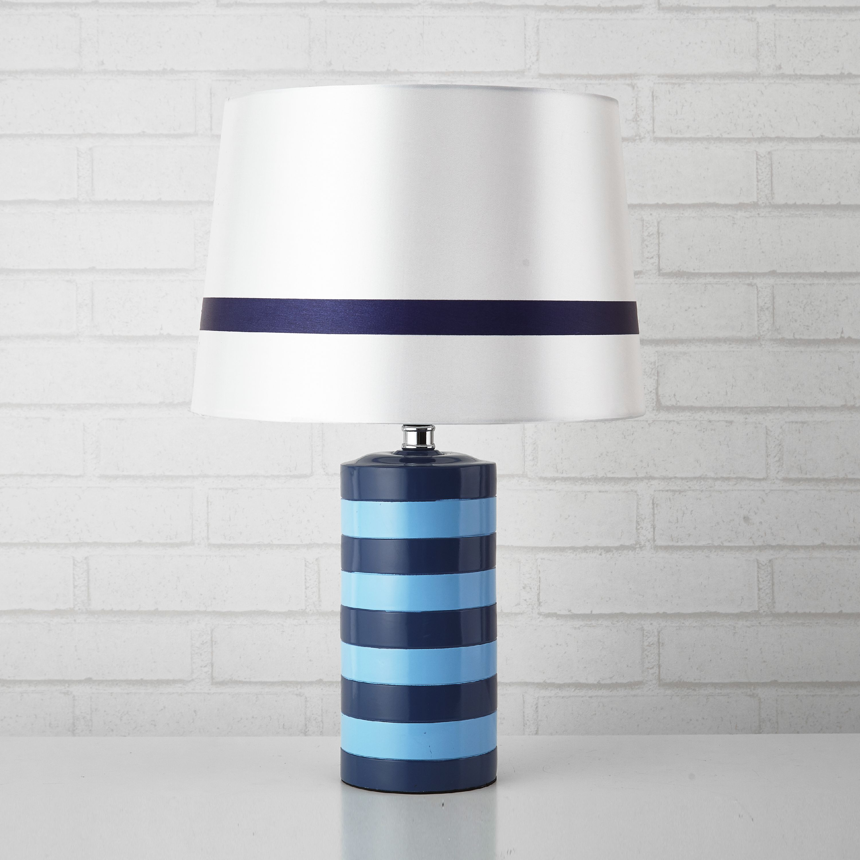 Mainstays Kids Blue Rugby Stripe Cylinder Lamp