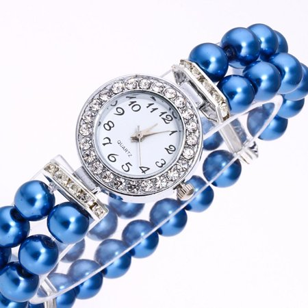 ON SALE - Vintage Era Pearl and Crystal Stretch Watch Blue