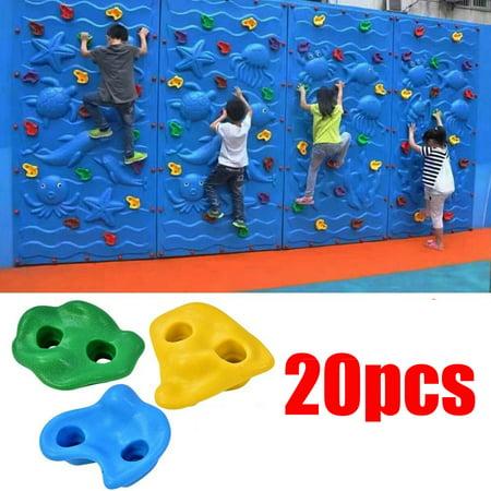 Knifun 20Pcs Multi-colour Textured Climbing Rocks Wall Stones Kids Assorted Kit Bolt, Rock Climbing Wall Stone,Rock Wall Stone