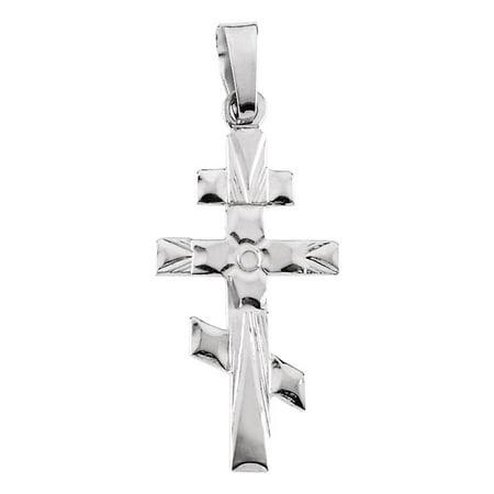 - 14K White Gold Orthodox Cross Pendant