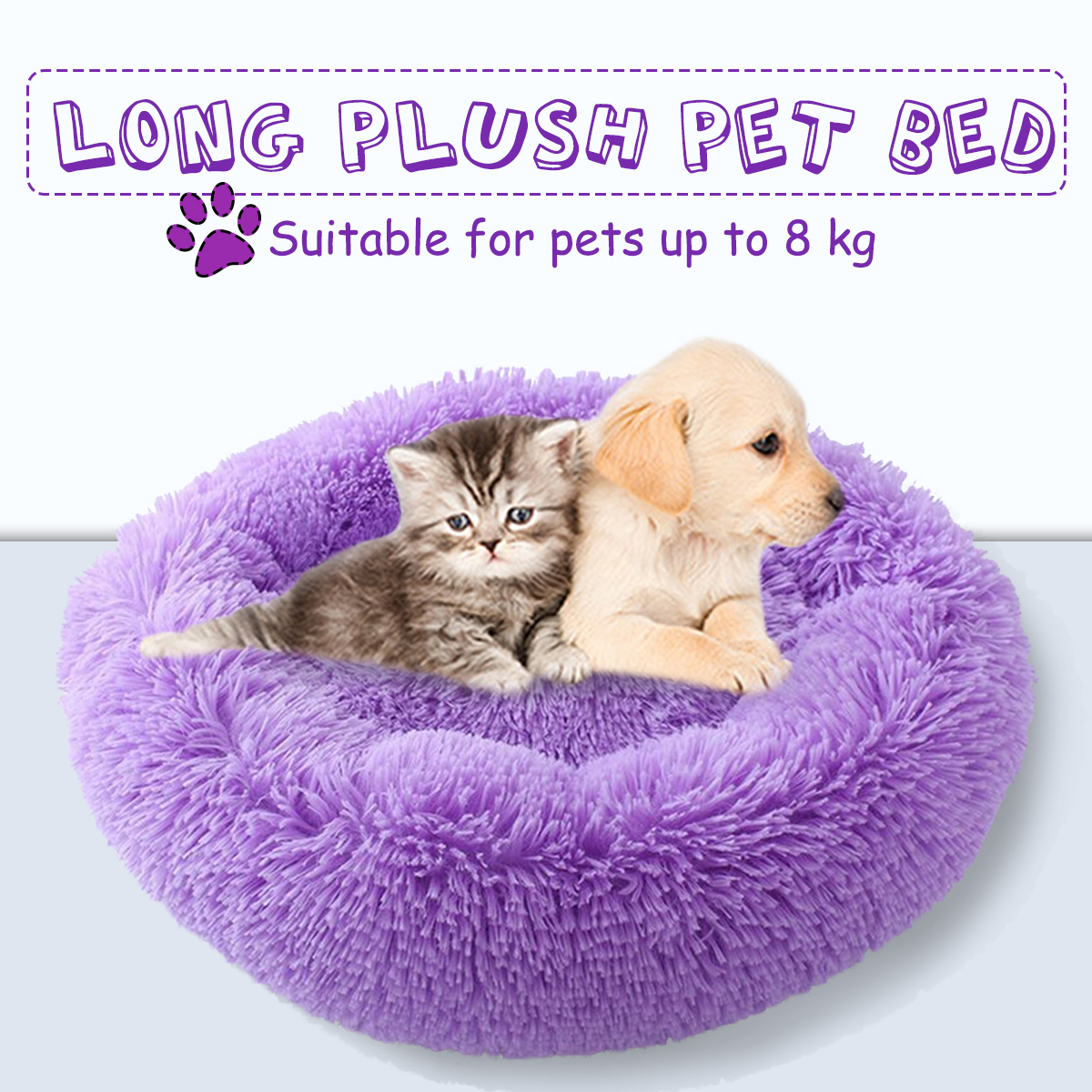 Pet Dog Puppy Bed Orthopedic Long Plush Soft Mattress Sleeping Nest House Pet Cushion for Dogs & Cats and Other Pets Up to 8 kg