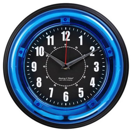Sterling And Noble 11 Quot Neon Wall Clock Neon Blue