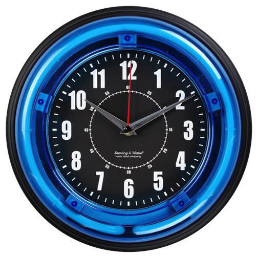 "Sterling and Noble 11"" Neon Wall Clock, Neon Blue"