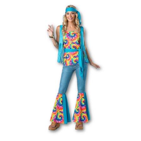 6d69933c8ac 60s   70s Hippie Tie Dye Adult Women s Costume Kit SM-XL Fringe Vest Leg ...